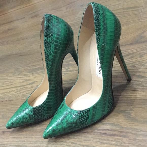 0b143421d3bc Jimmy Choo Shoes - Jimmy Choo green snake pumps!